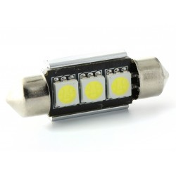 Festoon bulb 37 mm - with 3 Leds SMD C5W C7W  Error Free and Heat Sink