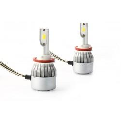 2 x Ampoules H11 LED Ventilé COB C6 - 3800Lm - 12V / 24V