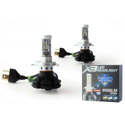 2 x lampade h4 bi-55w LED XT3 - 6000lm - 12v / 24v