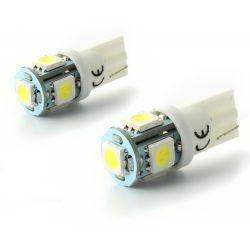 2 x 5 white LED bulbs - SMD - 5 LED- t10 W5W