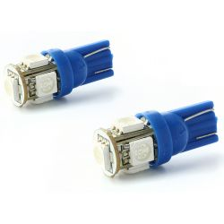 Bulbs 2 x 5 blue LEDs - SMD - 5 LED- t10 W5W