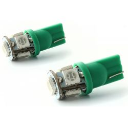 2 x 5 Bulbs green LEDs - SMD - 5 LED- t10 W5W