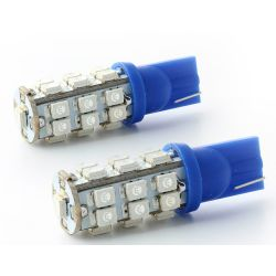 2 x T10 bulbs 25 BLUE LEDS - LED SMD - T10 W5W