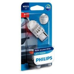 1x W21/5W PHILIPS LED VISION RED 12835REDB1