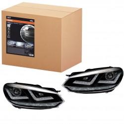 2x Golf VI Scheinwerfer - Chrome Edition, Xenon-Scheinwerfer nachrüstbar + LED-Tagfahrlicht, LEDHL102-CM, rechts + links